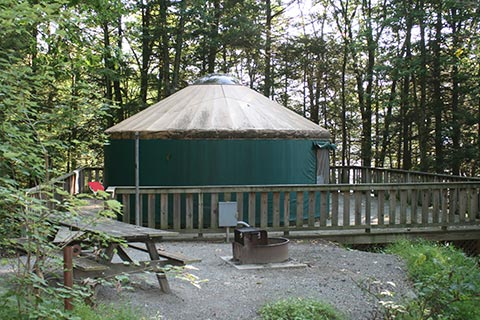A round tent on a wooden platform is surrounded by forest at Tusacrora State Park.