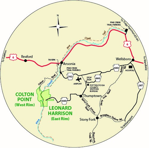 A circular map that shows the roads surrounding Colton Point State Park