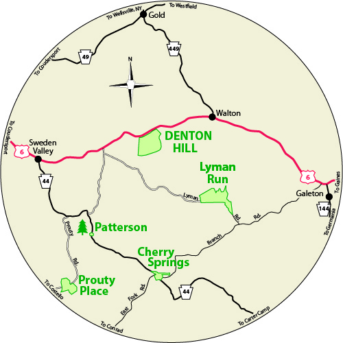 A circular map that shows the roads surrounding Denton Hill State Park