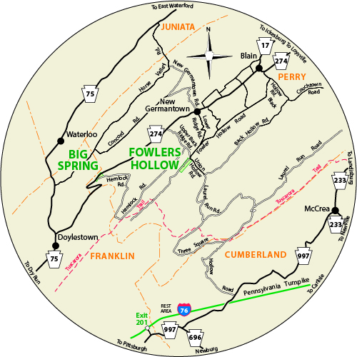 A circular map that shows the roads surrounding Fowlers Hollow State Park