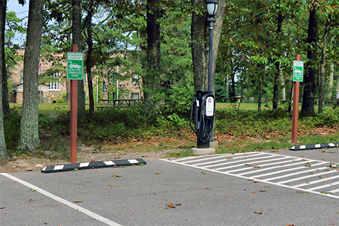 An electric charging station in a parking lot with trees and picnic tables behind it
