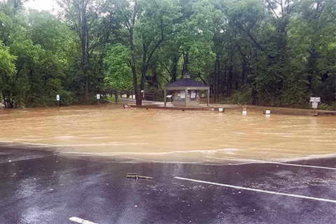 A parking lot with trailsigns and kiosks is flooded by water