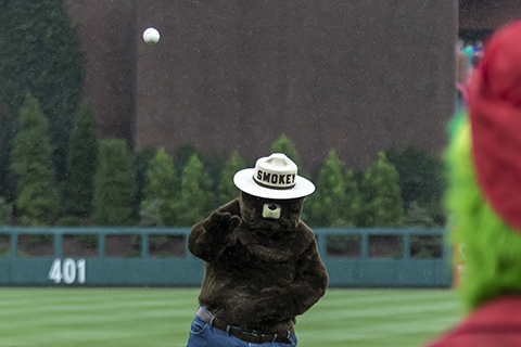 Pre Game-First Pitch-PA Dept of Conservation-Smokey the Bear-2.jpg